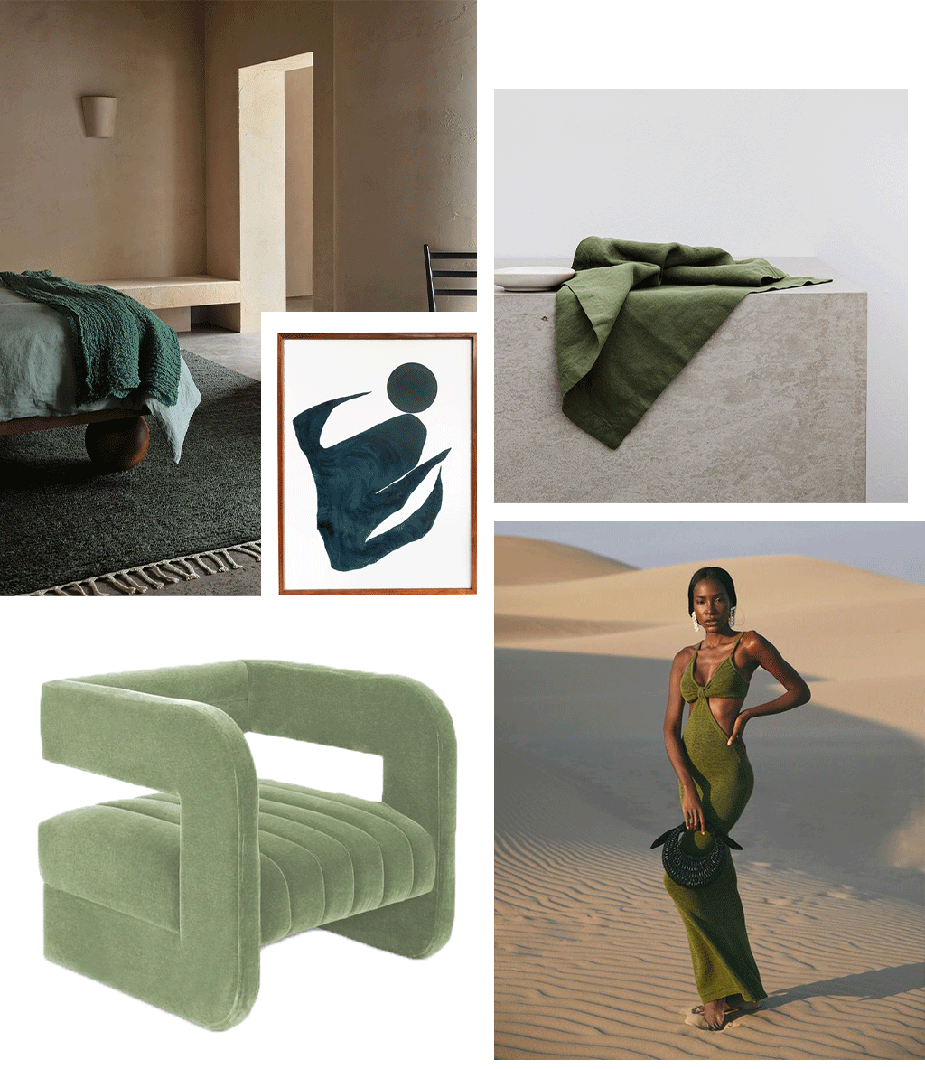 A collage of images. 1. Armadillo & Co campaign imagery of a bed dressed in CULTIVER Linen Duvet Cover in Sage and Armadillo & Co's Malawi Rug. 2. 'The Sea Wolves' artwork by Artist Hannah Nowlan. 3. Linen Table Napkin in Forest. 4. Studio 54 Occassional Chair in Moonstone. 5. Model in the Serita Dress in Olive by Cult Gaia.
