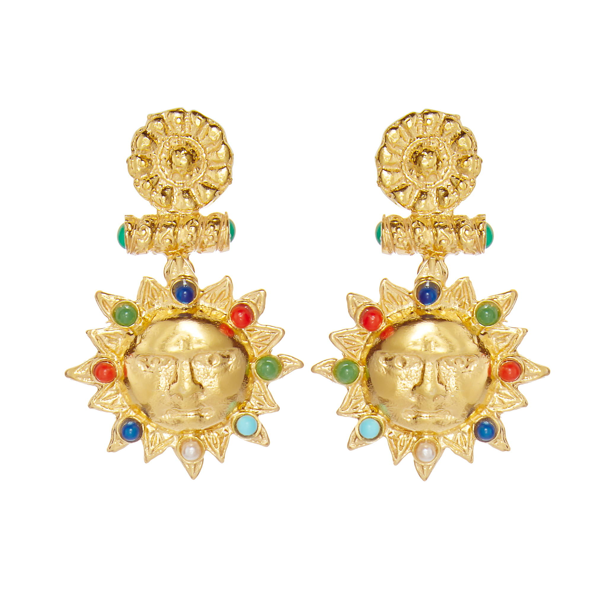 SORU JEWELLERY YELLOW GOLD SUN EARRINGS, SICILIAN SUN EARRINGS