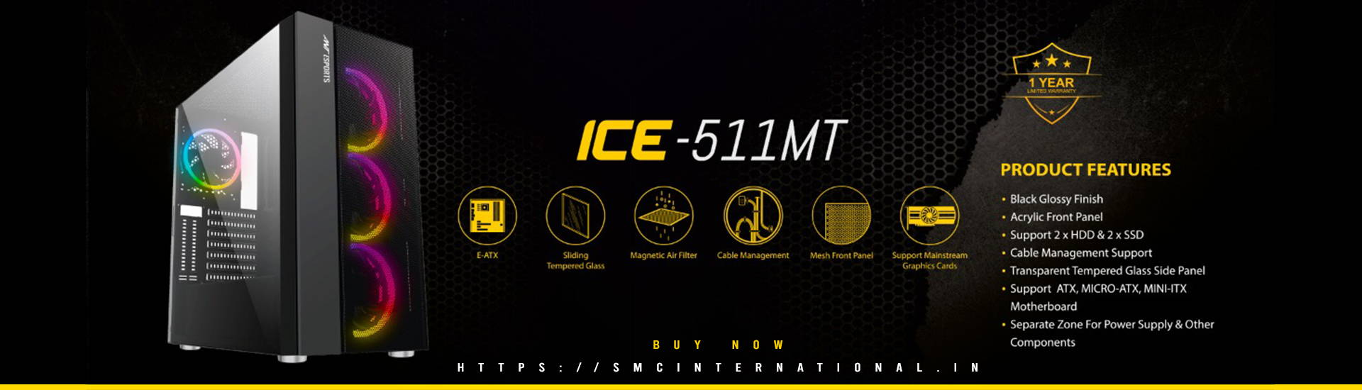 Ant Esports Ice 511MT Gaming Cabinet