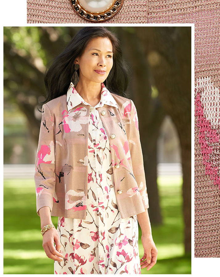 Floral Maxi Shirtdress Layered with the Pearl Button Floral Jacquard Knit Jacket