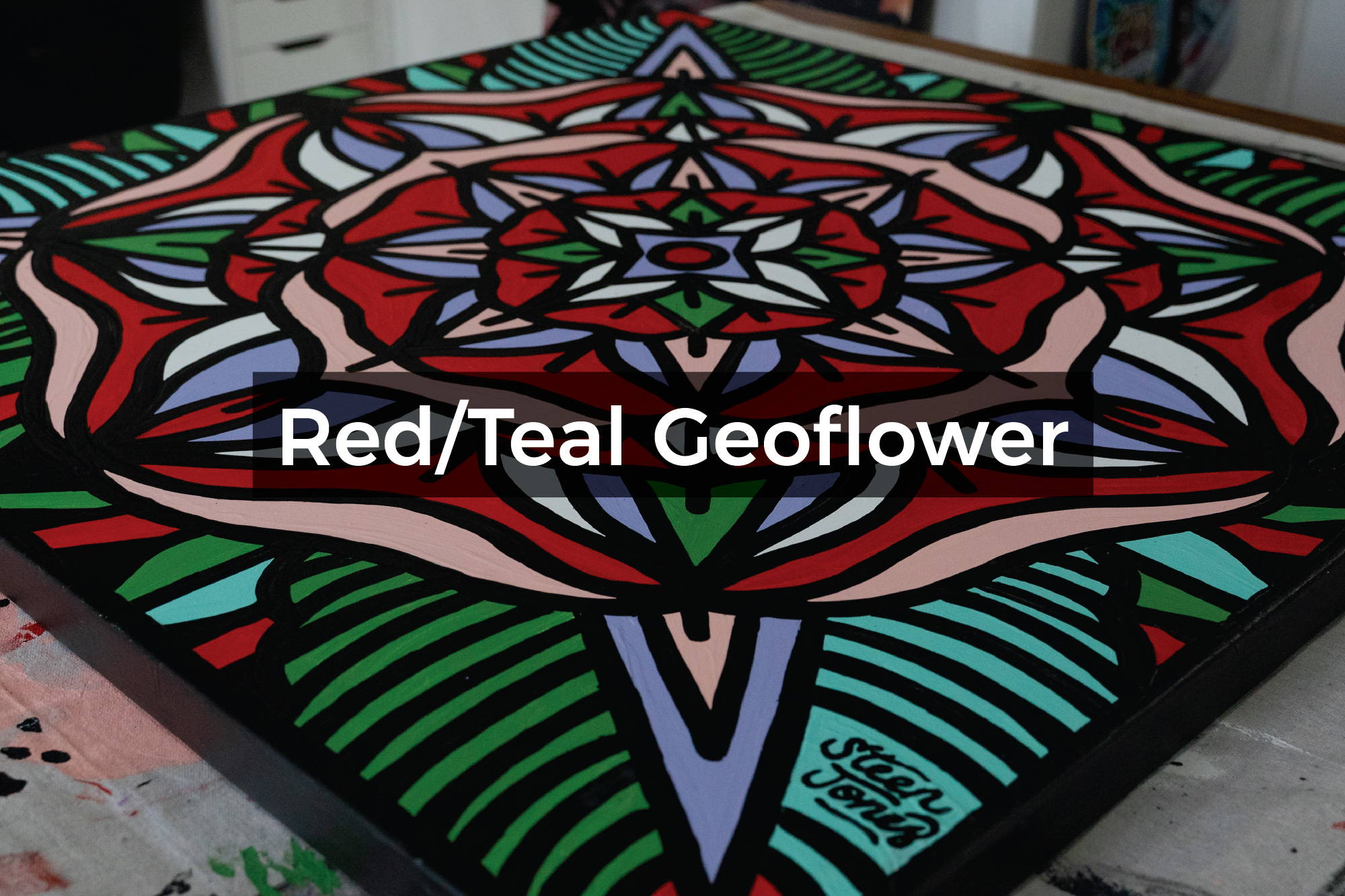 Red/Teal Geoflower canvas by Steen Jones