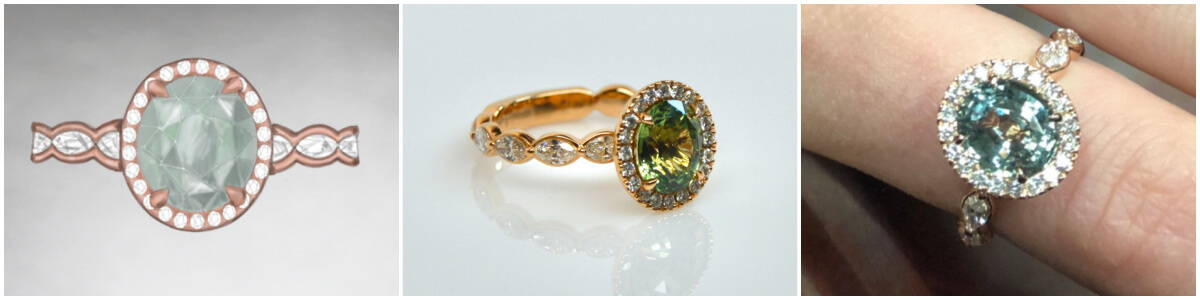 custom design story- green sapphire ring