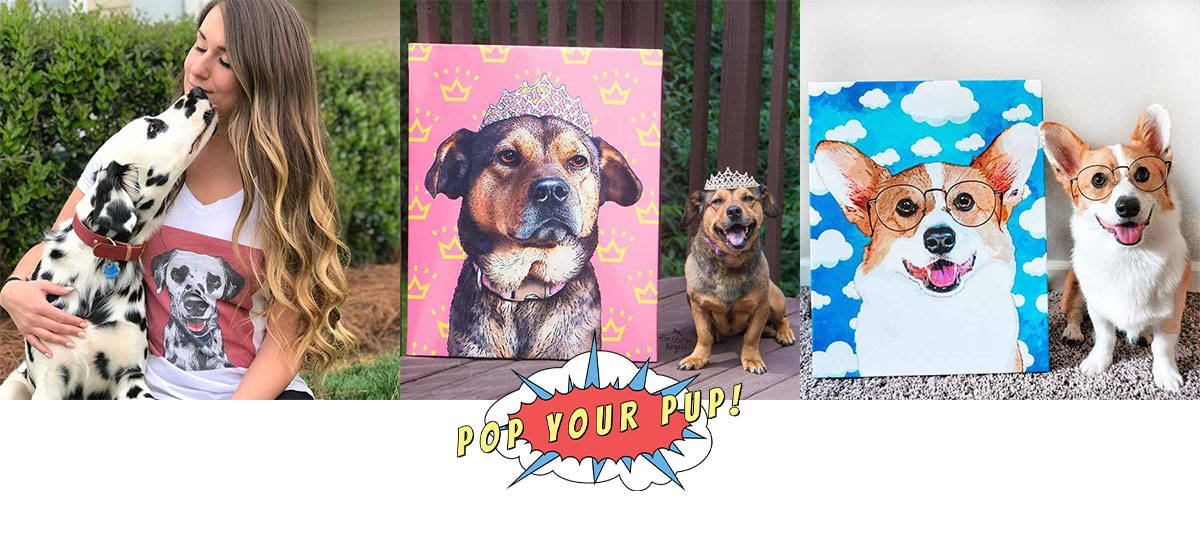 3 images of dogs and their pop your pup products
