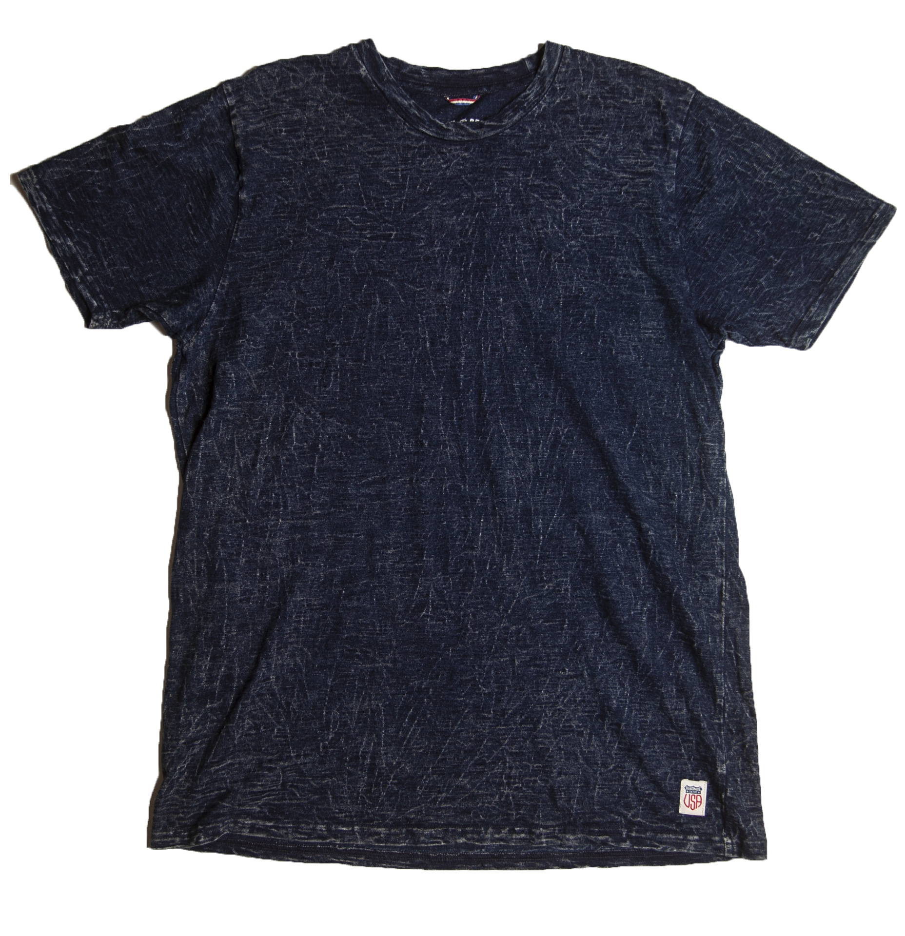 Iron & Resin True Blue Indigo Dark Blue Solid Tee Product Front View
