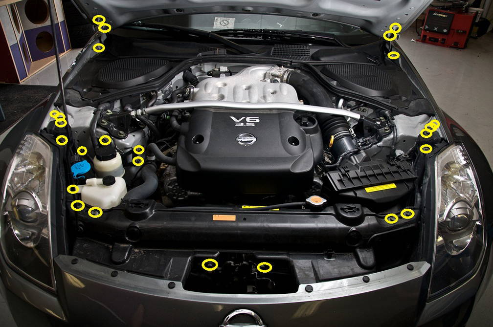 Nissan 350z 2003 2008 Z33 Titanium Dress Up Bolts Engine