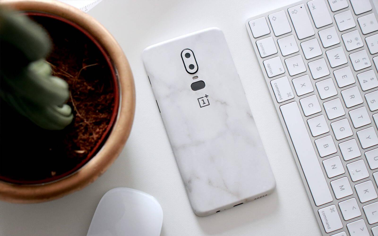 OnePlus 6 White Marble Skins