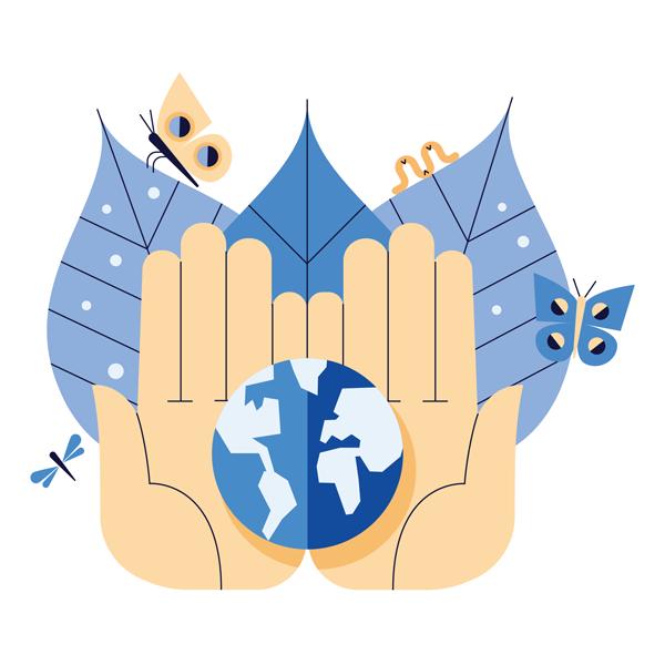Illustrasjon av hender som holder jordkloden