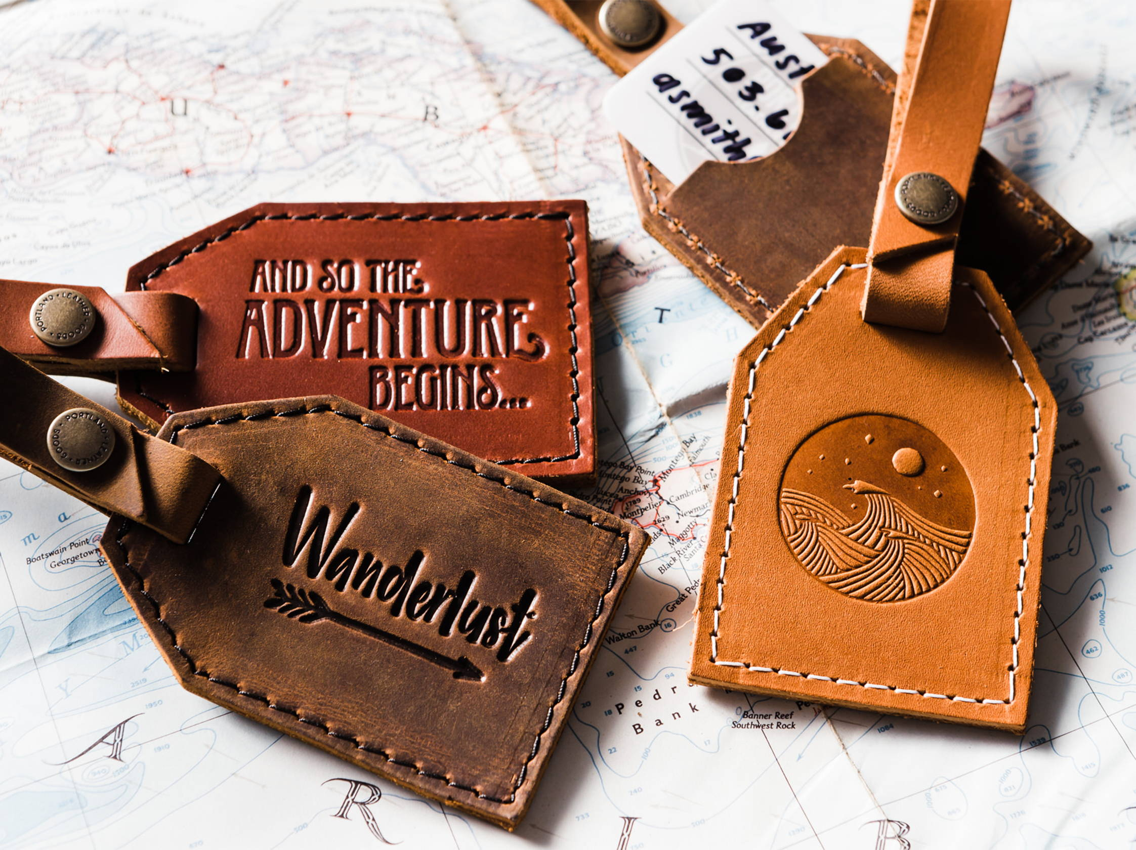 handmade leather luggage tags by portland leather goods