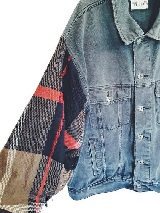 Fanfare Upcycled Denim Jacket Wool Sleeves