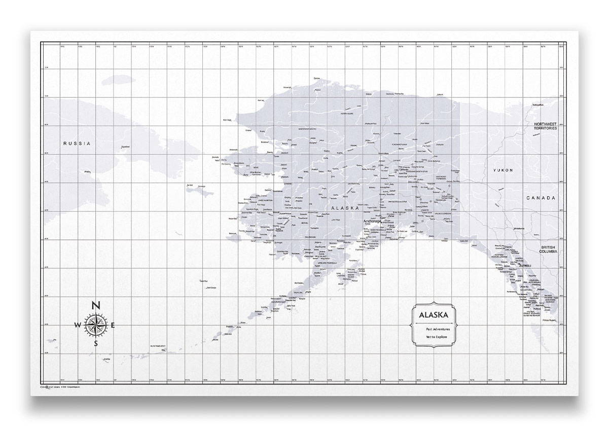 Alaska Push pin travel map color splash