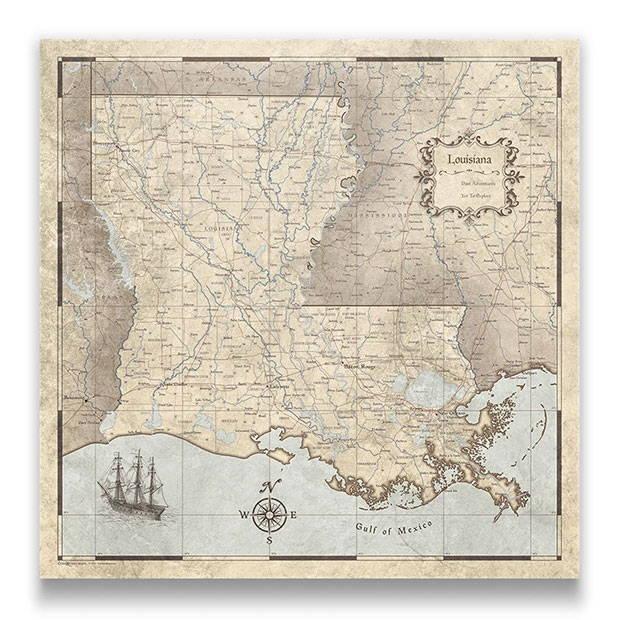 Louisiana Push pin travel map rustic vintage