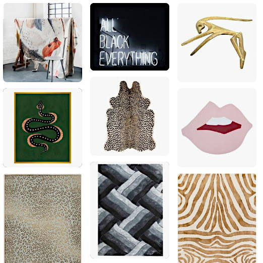 A photo collage of Pinterest pins. One features a snake on a rug with a green background, zebra & leopard patterns, a charcoal zigzag rug and a small brass antelope.