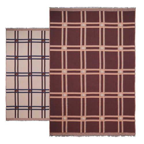 Ferm Living Checked Wool Blend Blanket