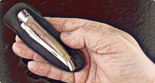 Laguiole pocket knife in adult hand