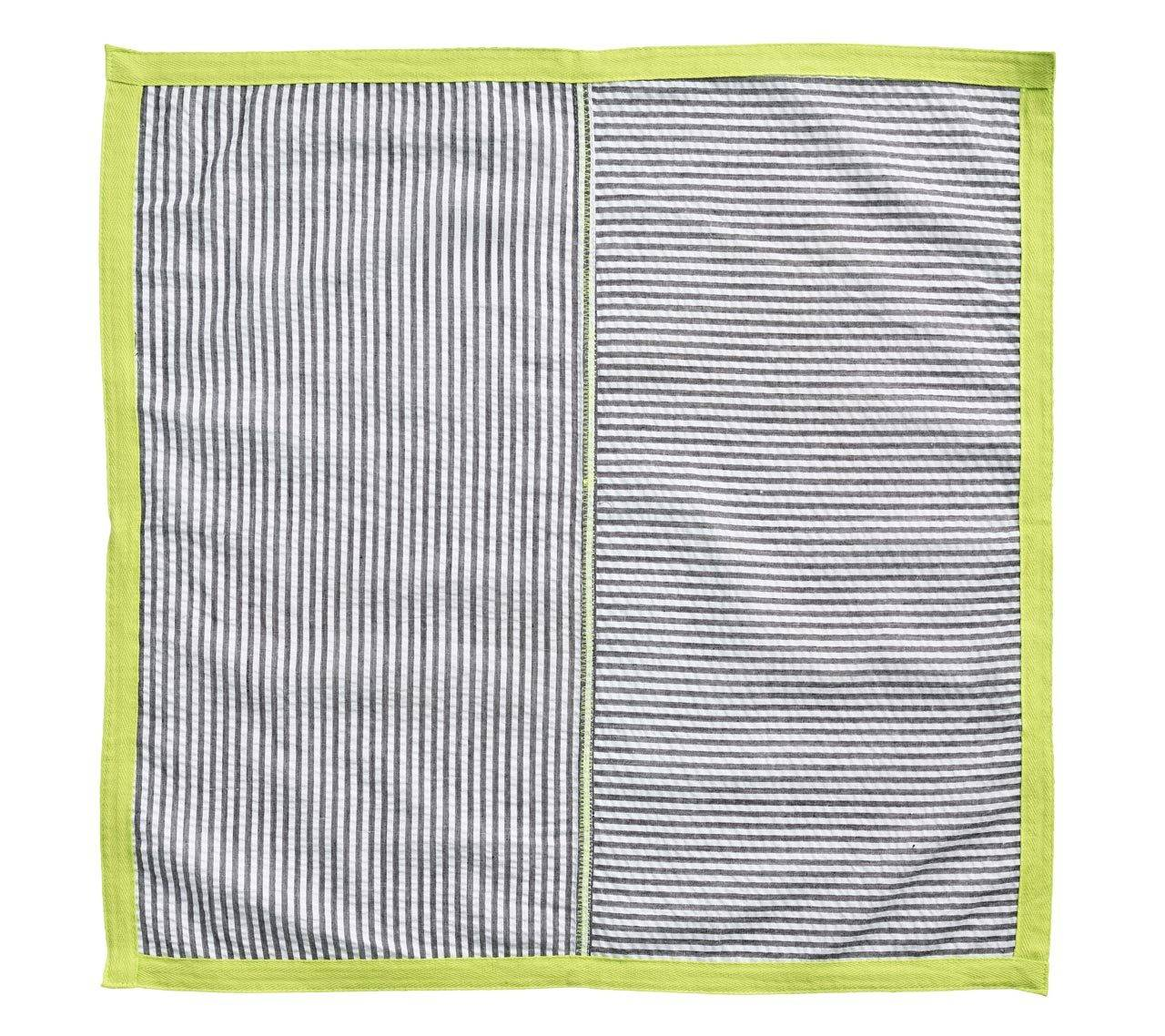 SEERSUCKER RIBBON NAPKIN IN BLACK & NEON GREEN