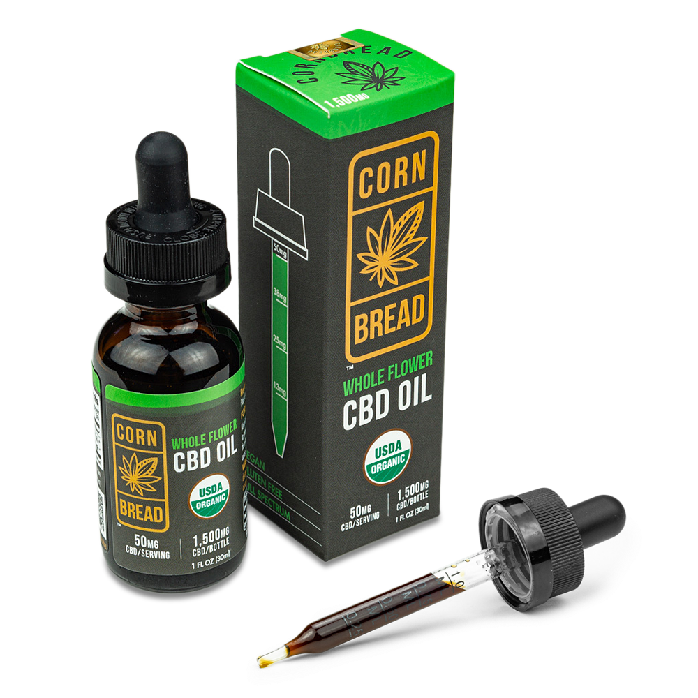 Organic Full Spectrum CBD Oil Whole Flower with Dropper Display