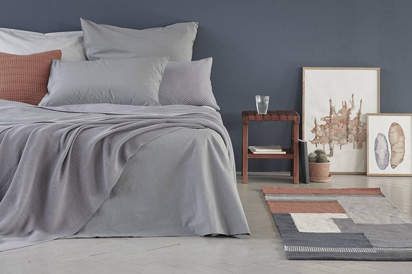 Pigeon blue bedroom with terracotta
