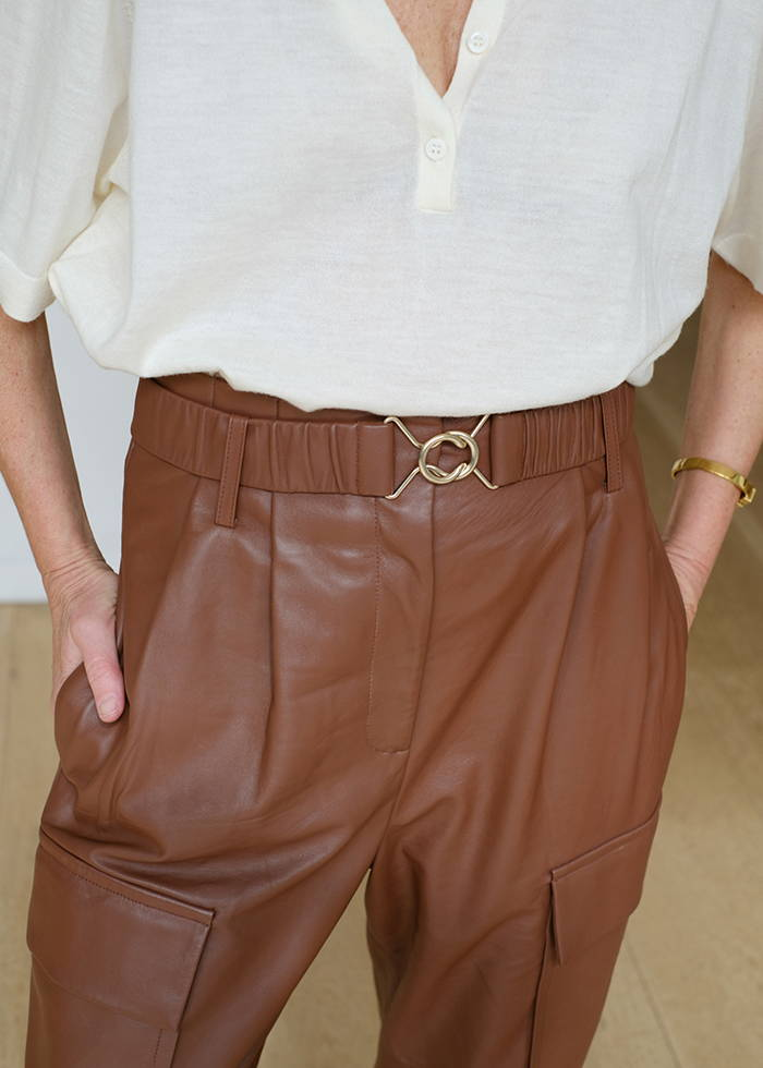 Oroton Leather Belted Paper Bag Waist Pant