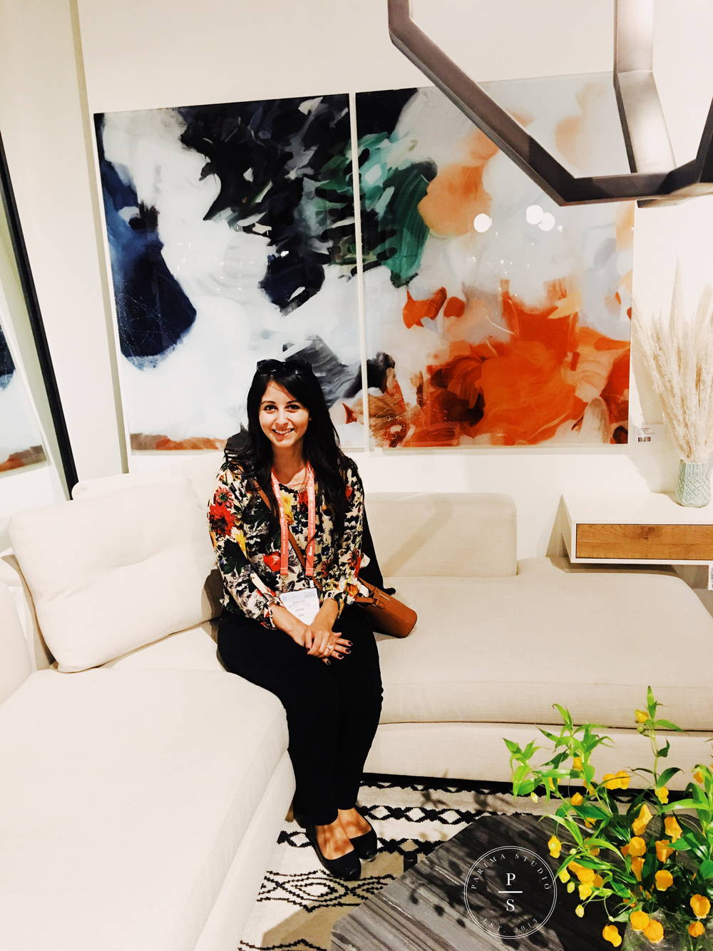 Patricia Vargas of Parima Studio abstract art at the Las Vegas Market - Four Hands Showroom