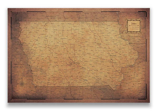 Iowa Push pin travel map golden aged