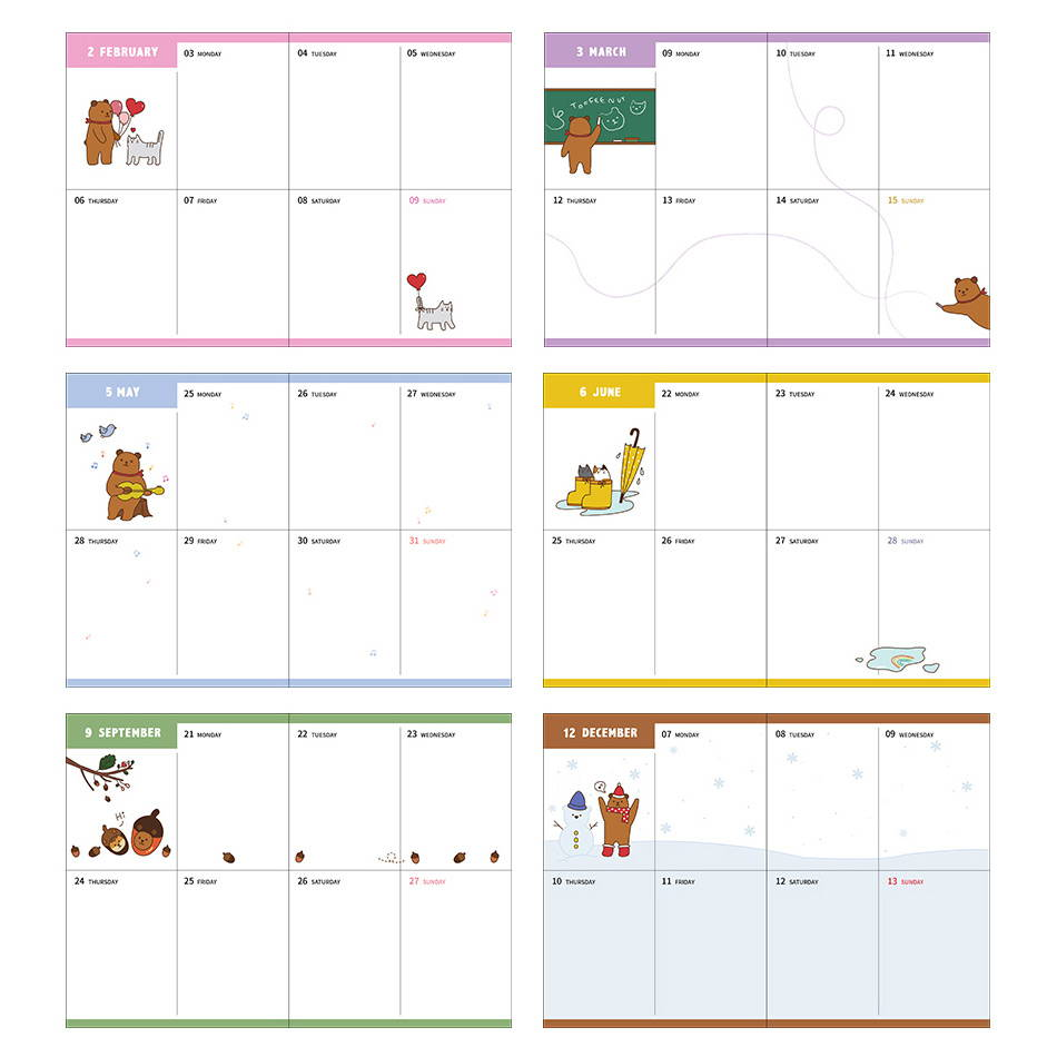 Weekly plan - Monopoly 2020 Toffeenut friends dated weekly diary planner