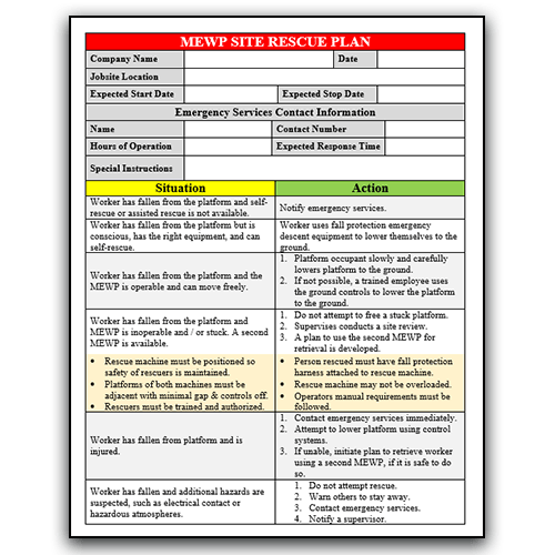 MEWP Rescue Plan Form