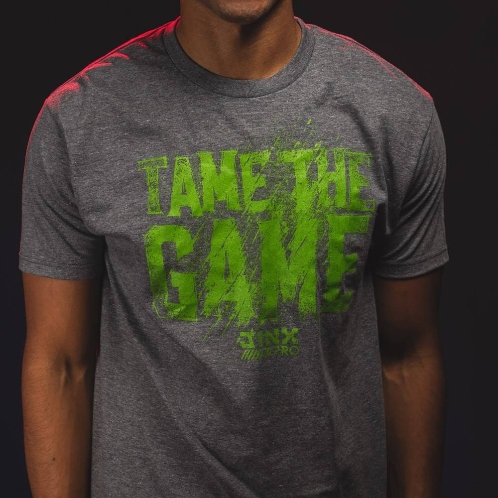 Photo of a male model wearing the JINX Pro Tame The Game Premium Tee