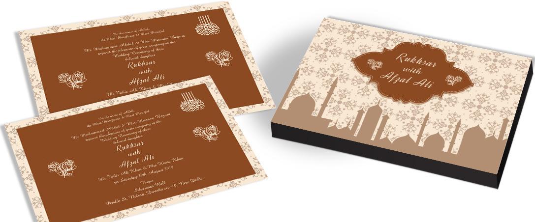 Designer Indian Invitation card for Islamic Wedding