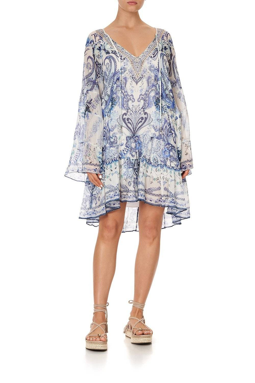 CAMILLA white and blue floral long sleeve mini dres
