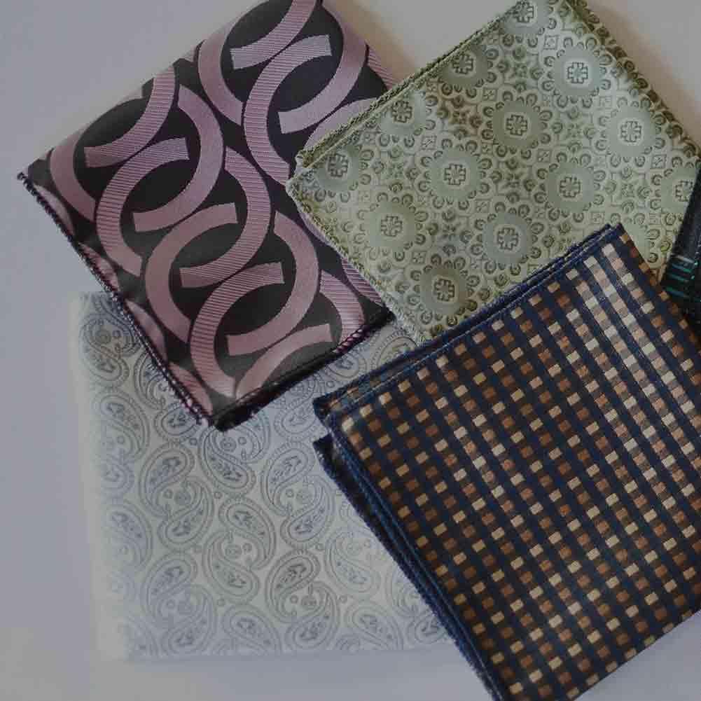 Assortment of pattern pocket squares