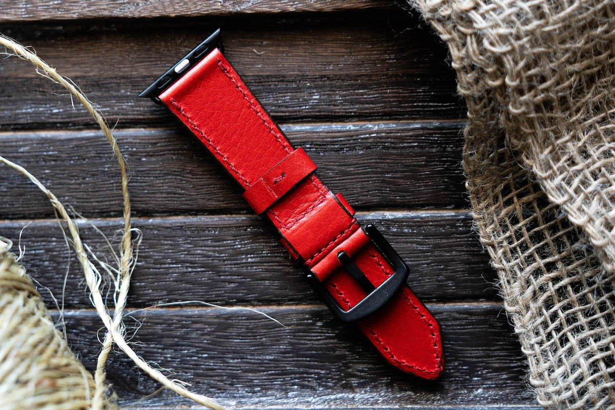 44mm apple watch leather strap red