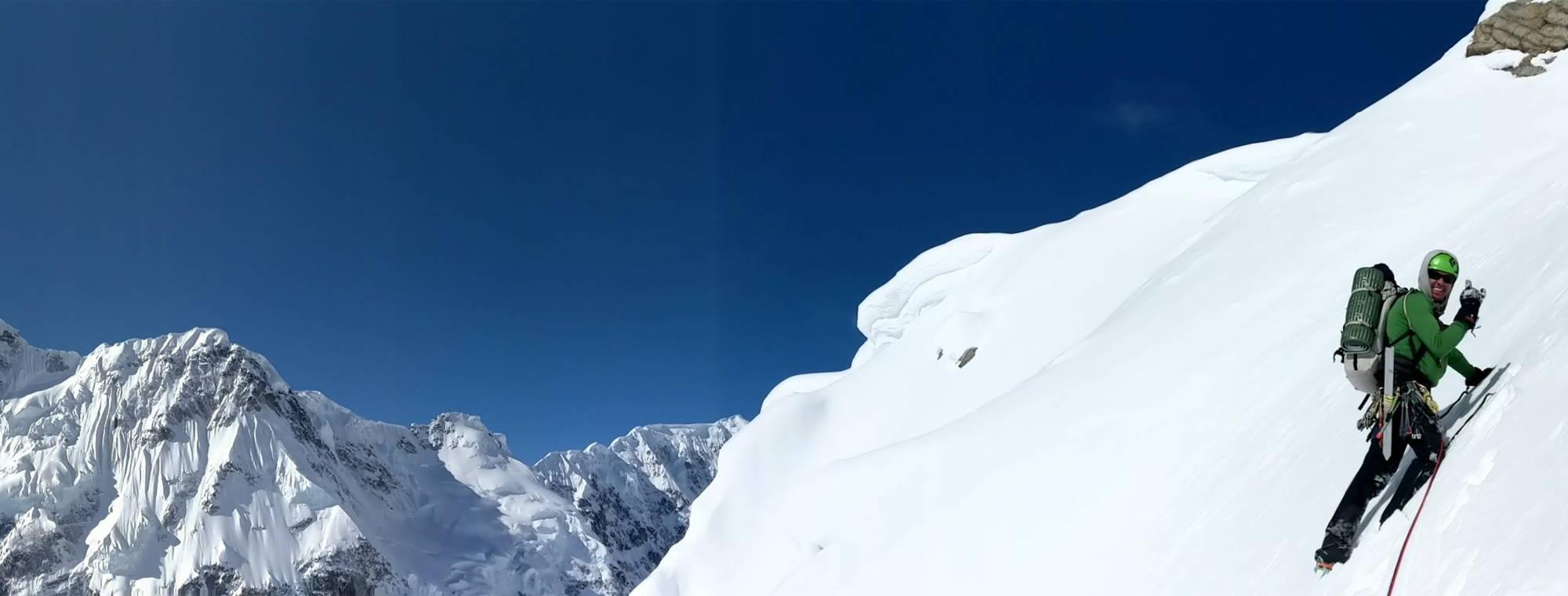NW Alpine Ambassador Colten Moore Climbing a Snowfield