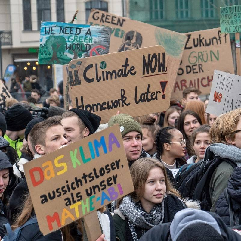 A group of young people demonstrate at a climate strike march