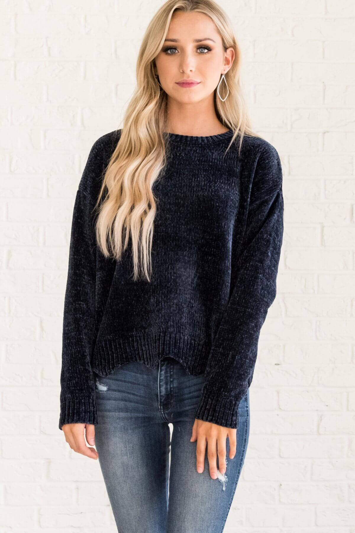 Navy Blue Soft Knit Chenille Sweater with Scalloped Hem