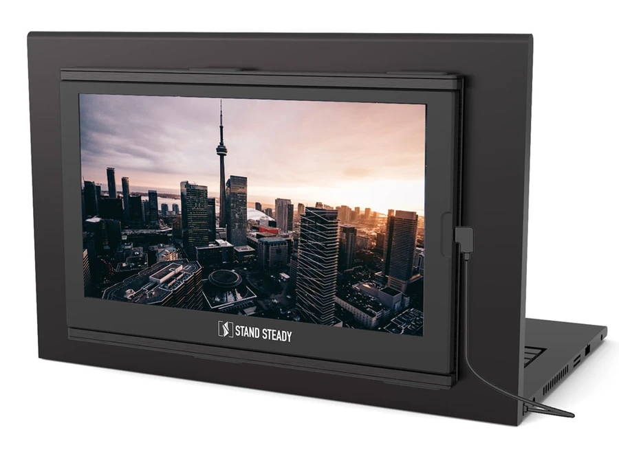 SideTrak monitor rotated 270 degrees for easy screen sharing