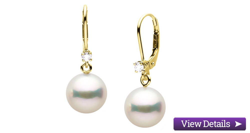 Akoya Pearl Jewelry Styles: Pearl and Diamond Dangle Earrings
