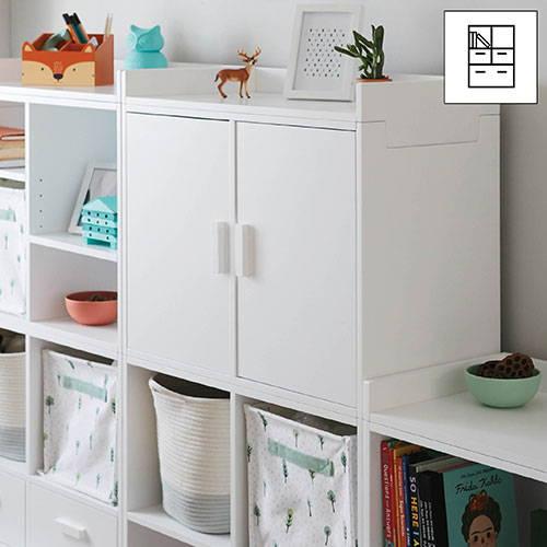 white playroom storage