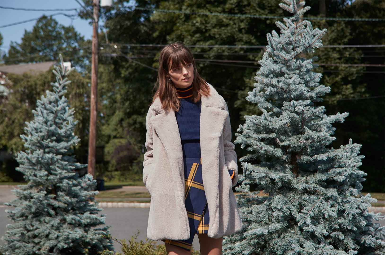 Vegan Shearling Eldridge Coat, Racer Stripe Pullover and Prepster Check Wrap Skirt