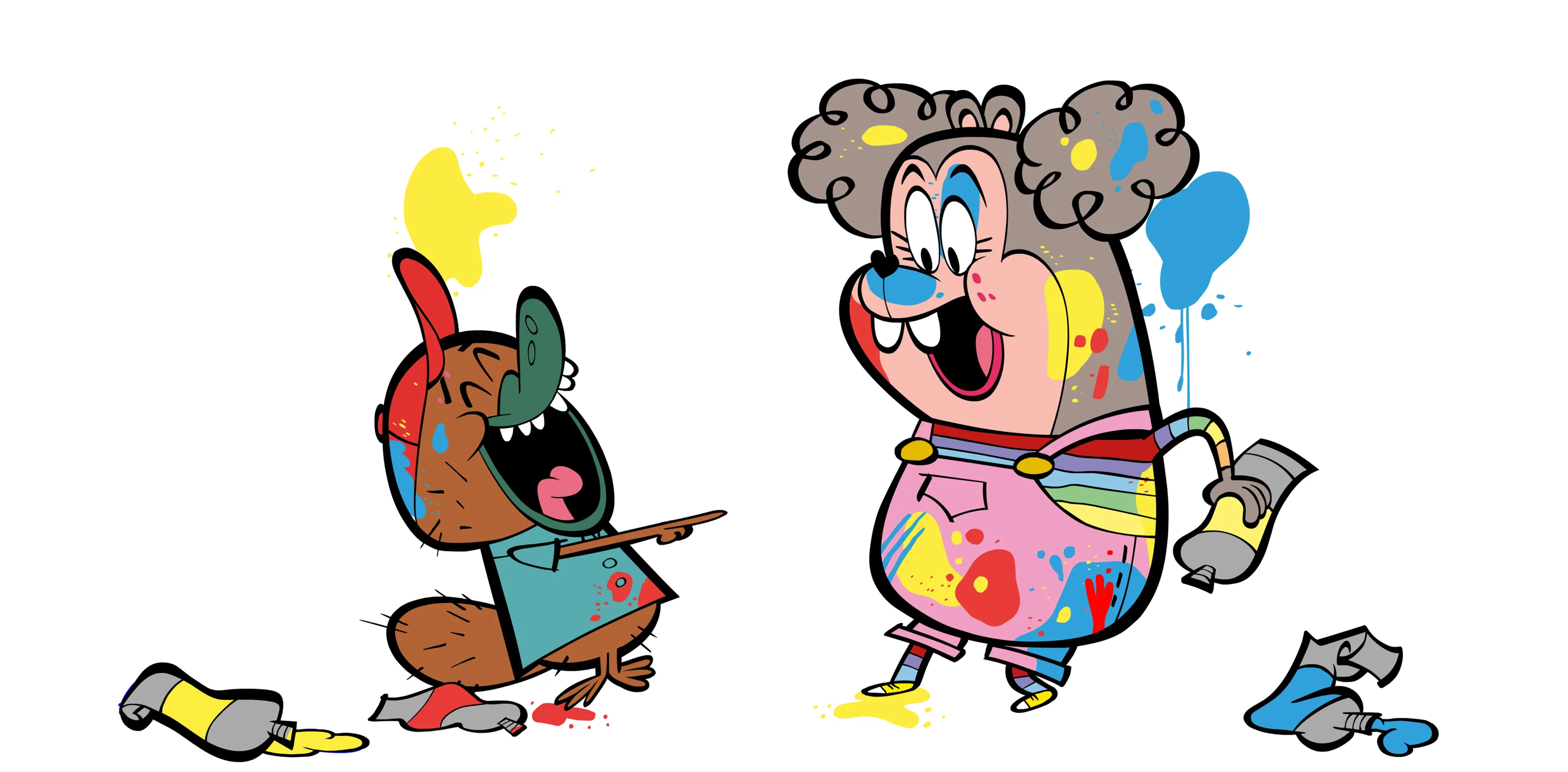 illustrated characters laughing and covered in paint
