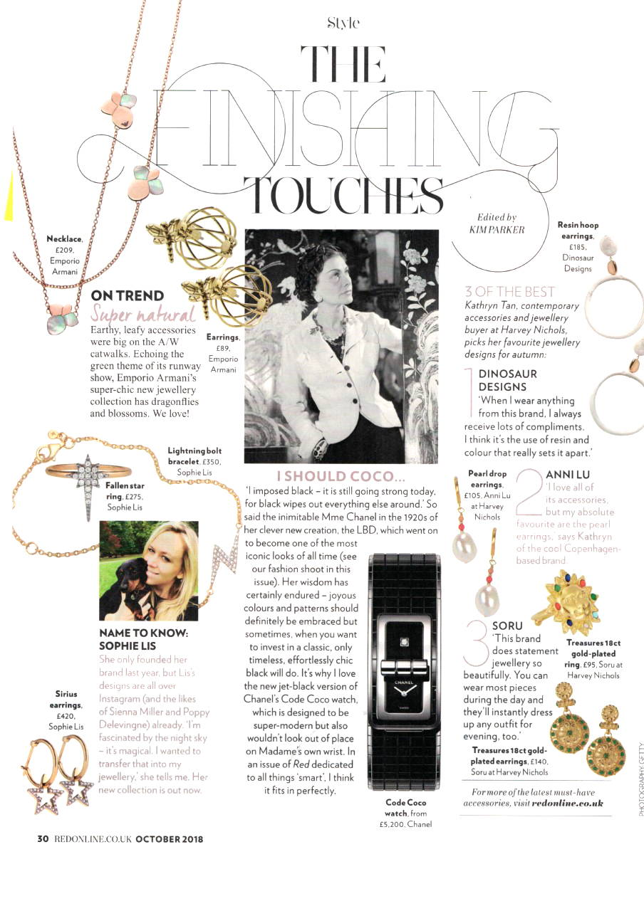 soru jewellery in red magazine, soru sun ring in red magazine, soru loran earrings