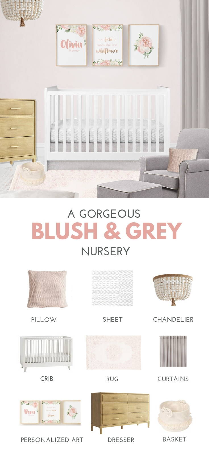 Blush and grey girl's nursery idea