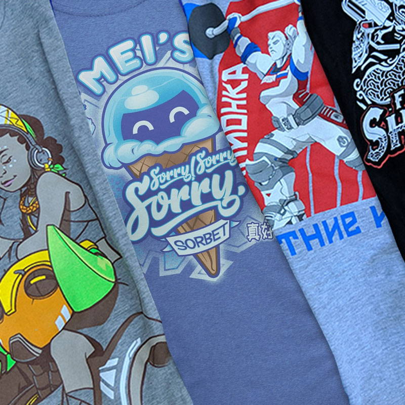 A collection of Overwatch shirts