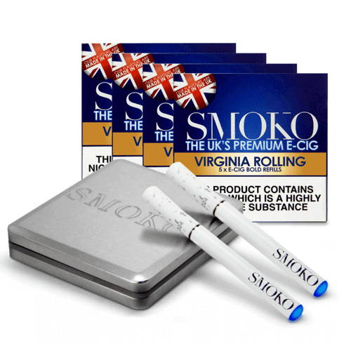 easy to use E-cigarette Starter Kit. 4 packs of rolling tobacco refills. 1 extra battery