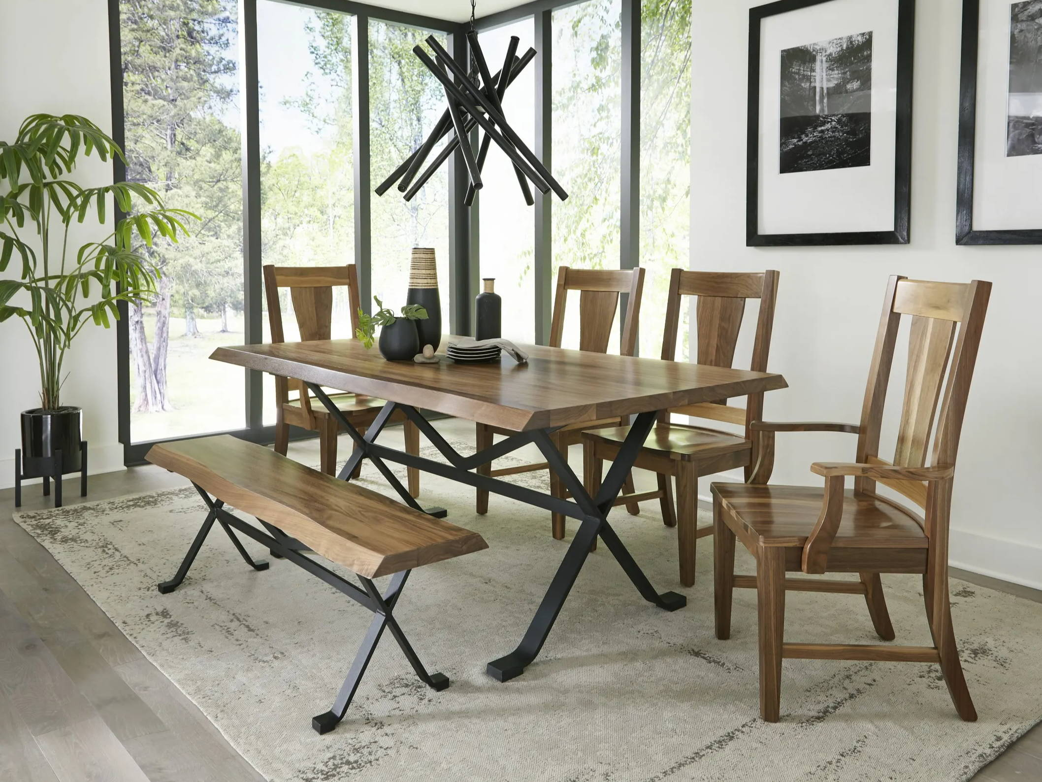 dining table with live edge and match bench with dining chairs around