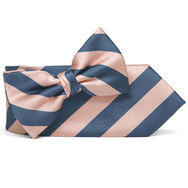 Dusty blue and petal striped necktie and bow tie