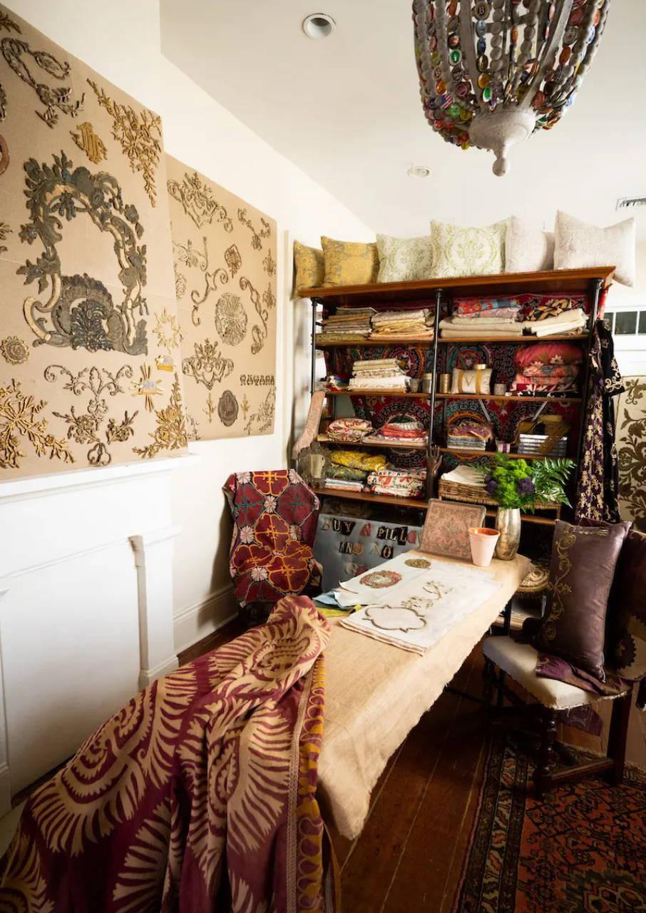 "Inside the ""textile club"" at the B. Viz Design NOLA Atelier on Magazine Street in New Orleans, LA"