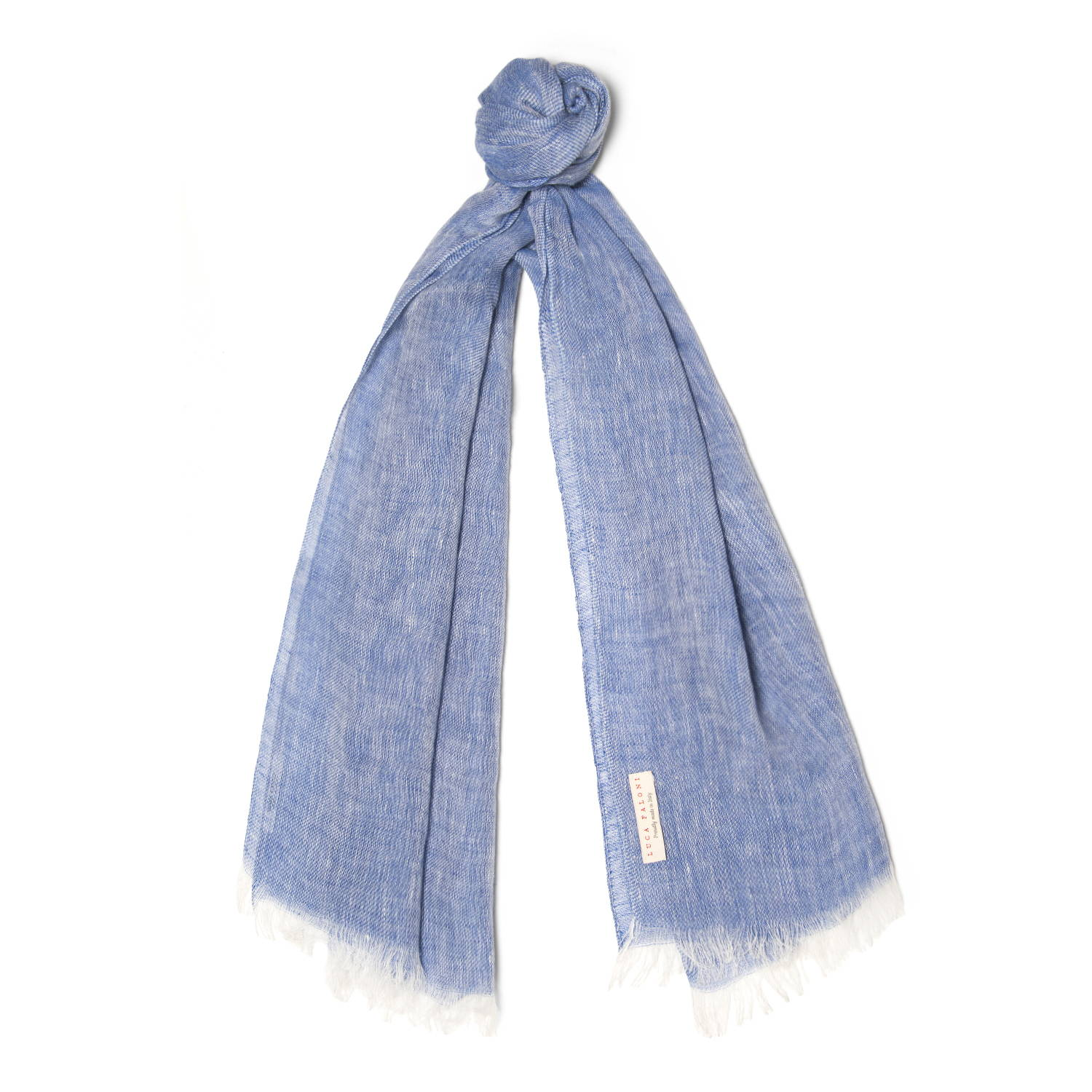 Luca Faloni Blue Linen Scarf Made in Italy