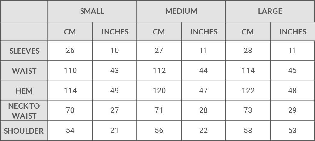 Harem London Tees Size Guide