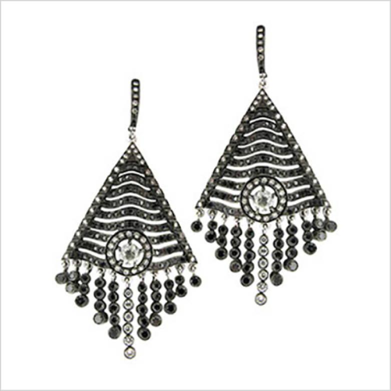 Black Diamond Fringe Earrings