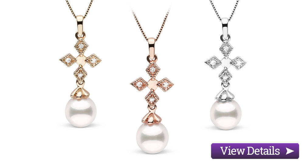 Akoya Pearl Jewelry Styles: Diamond Cross Pendants